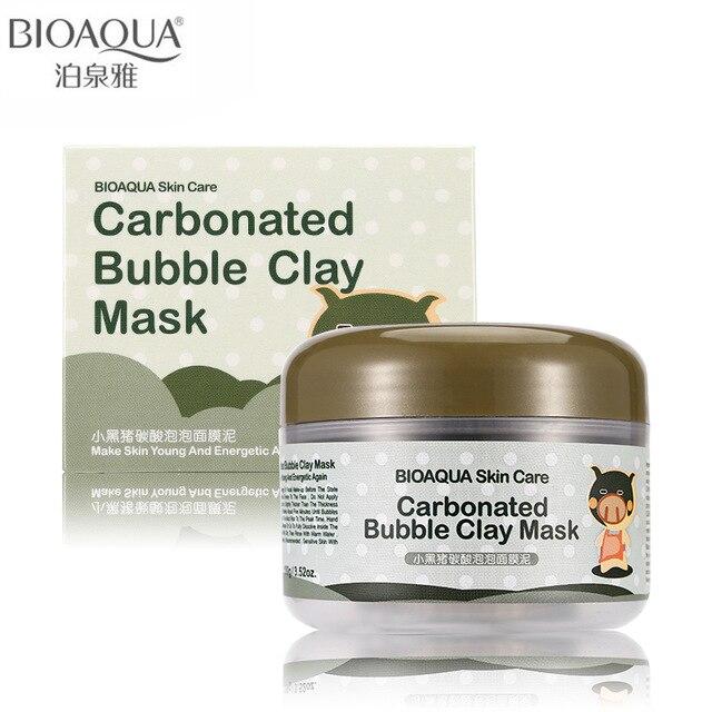 BIOAQUA Brand Skin Care Oxygen Bubbles Carbonate Mud Mask Acne Blackhead Treatment Hydrating Moisturizing Facial Masks 100g