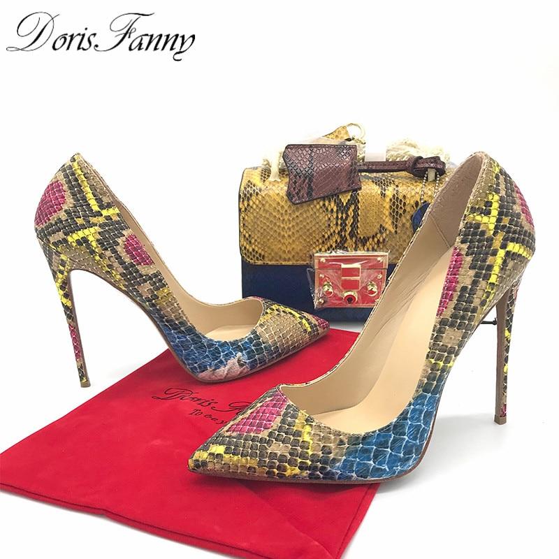 DorisFanny/африканские женские туфли со змеиным принтом и сумочка в комплекте; туфли лодочки на высоком каблуке 12 см - 6