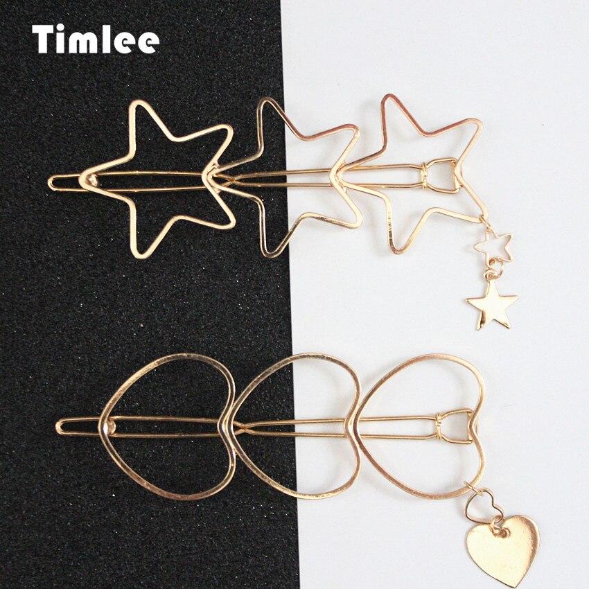 Timlee H030 Бесплатная доставка милые текстура звезды сердце полый металлический кулон длинные зажим для волос аксессуары для волос оптом