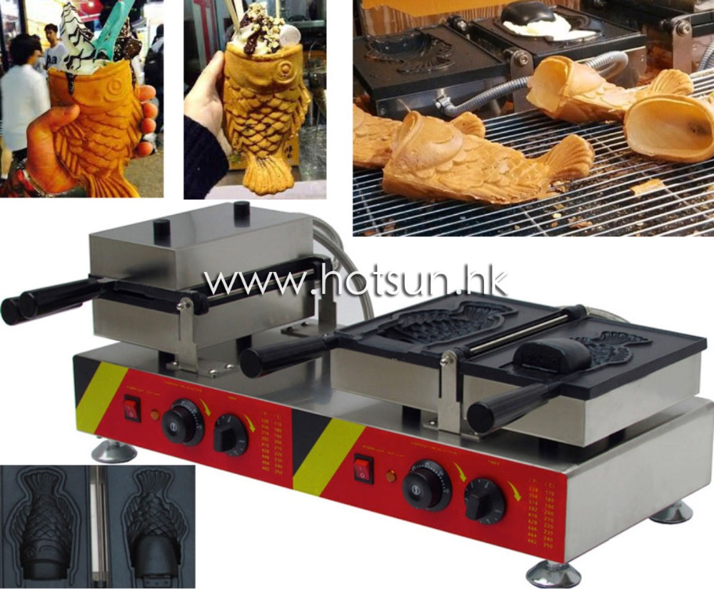 Commercial Use Non-stick 110v 220v Electric Dual Ice Cream Taiyaki Iron Maker Machine Baker