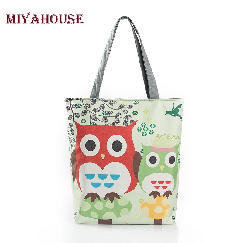 Cartoon Owl Print Casual Tote Lady Canvas Beach Bag Female Handbag Large Capacity Daily Use  Women Single Shoulder Shopping Bags floral printed canvas tote female single shopping bags large capacity women canvas beach bags casual tote feminina