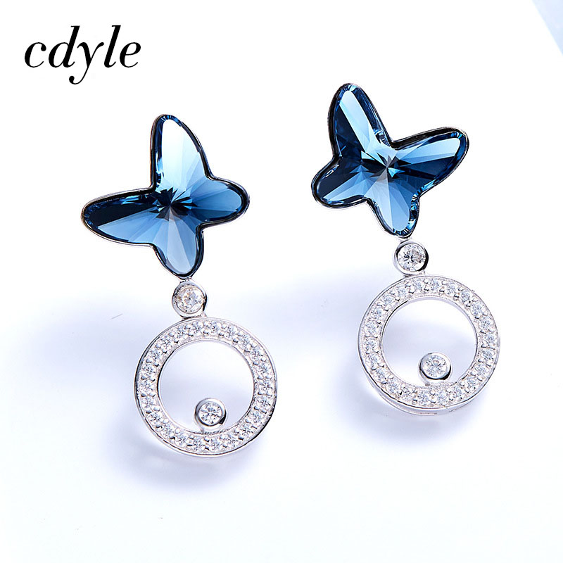 Cdyle Crystals from Swarovski Stud Earrings Women Earring Butterfly Shaped S925 Sterling Silver Jewelry Austrian Rhinestone New pair of stylish rhinestone alloy stud earrings for women