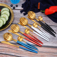 24pcs Elegant Red Gold Silver Tableware Set 304 Stainless Steel Cutlery Set Drop Shipping