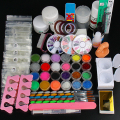 2016 New 1set  Full 25 Nail Art Acrylic Powder Primer Glitte Liquid TIP Brush Glue Dust KITS