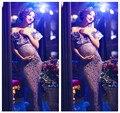Vestido de maternidade Vestidos De Renda Longos Grávidas Fotografia Adereços Extravagantes Gravidez Verão Transparente Camisola Roupa de Maternidade
