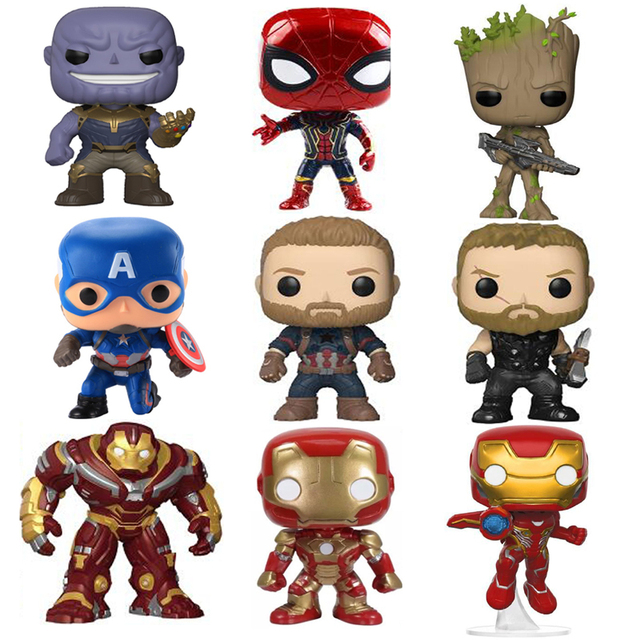 FUNKO פופ מארוול נוקמי 3 אינפיניטי מלחמת תאנסו קפטן אמריקה איש ברזל פעולה איור Thor צעצוע ספיידרמן פנתר PVC דגם בובה