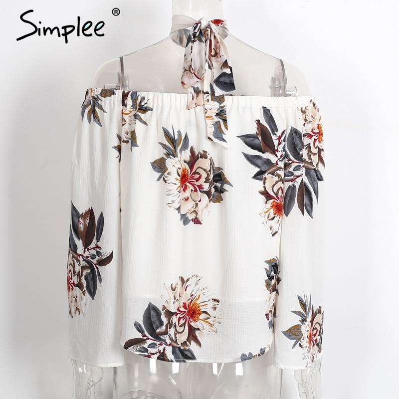 HTB1zS7zPXXXXXcgXpXXq6xXFXXXm - Floral print off shoulder chiffon blouse Women tops halter cool