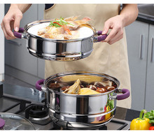 Kitchen Pots Casseroles Luxury Steamer Pot Frypan Saucepan Inox Pans and Pots Set Purple Silicone Anti-hot Cooking Utensil Set