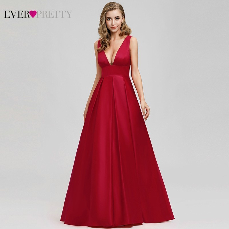 Ever Pretty Sexy Red Prom Dress Long Sparkle A-Line Deep V-Neck Formal Dresses Elegant Party Gowns EP07978 Vestidos De Gala 2020