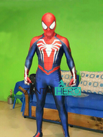 Free Shipping DHL PS4 INSOMNIAC Spiderman Suit 3D Print Spandex Games Spidey Cosplay Suit Halloween Cosplay