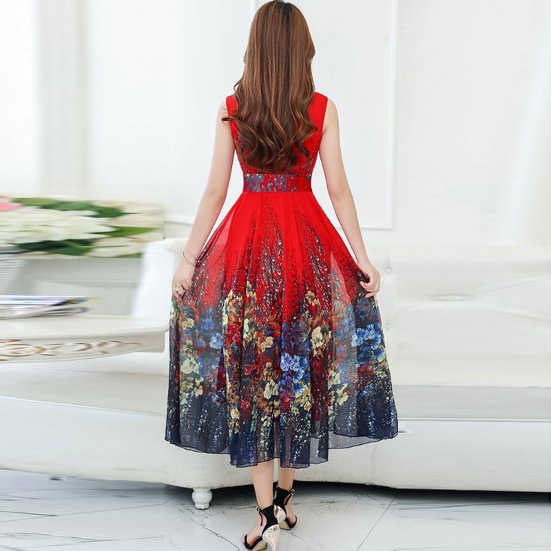 2018 nouvelle grande taille 4XL bohème robe d'été femmes imprimé longue robe à manches courtes bord de mer vacances ver à soie robe en soie - 4