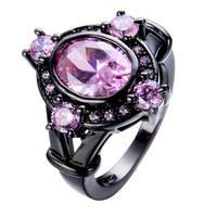 Unique Design Pink Zircon Stone Ring Black Gold Filled Cute Jewelry Wedding Party Promise Rings For
