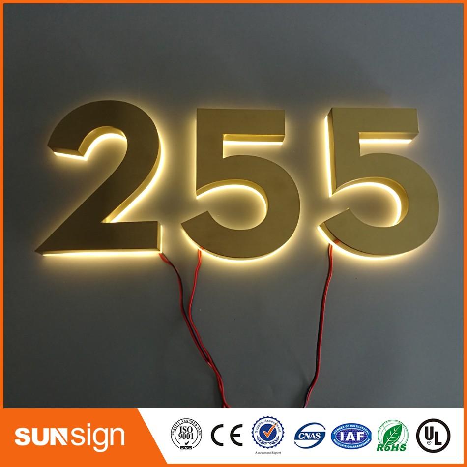 Benutzerdefinierte gold farbe brushed metal hausnummern warmweiß led hausnummernchina mainland