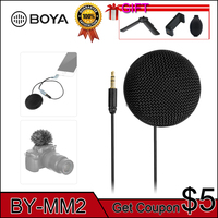 BOYA BY MM2 Mini Stereo Omnidirectional Conderser Microphone w/ Furry Windscreen for DSLR Camera Smartphone PC Tablet