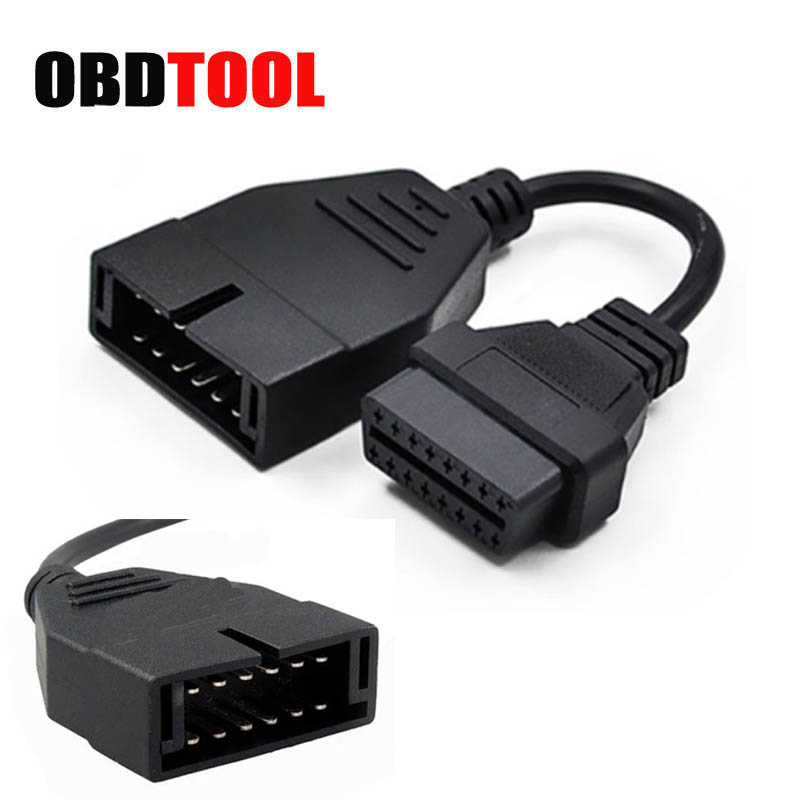 2016 Free Shipping 12 Pin OBD 2 Connector Adapter Car Accessories Diagnostic Extension Cable 12pin to16Pin adapter