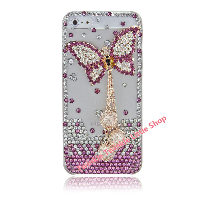 Free Shipping Handmade Cute Butterfly 3D Bling For iphone 5s case Crystal Diamond Hard Back Skin Phone Cases For iphone 5 case