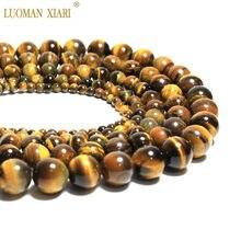 Atacado natural olho de tigre pedras soltas, miçangas para fazer jóias, colar pulseira diy 4/6/8/fio de 10/12mm 15''