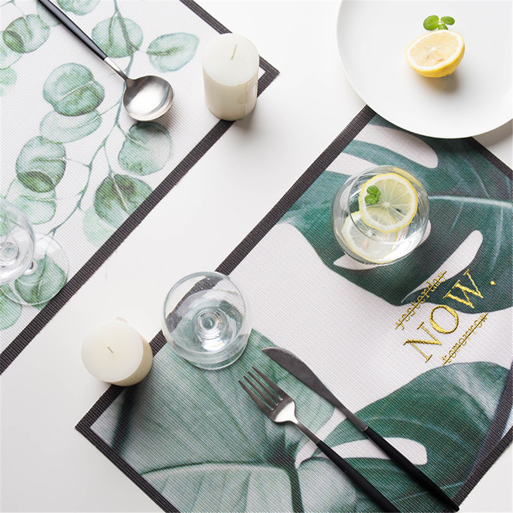 Chic Tropical Plants Placemat Tableware Pad Dining Table Mat Heat Insulation Non-Slip Placemats Flamingo Green Leaf Coaster 1pcs муфты ганзена