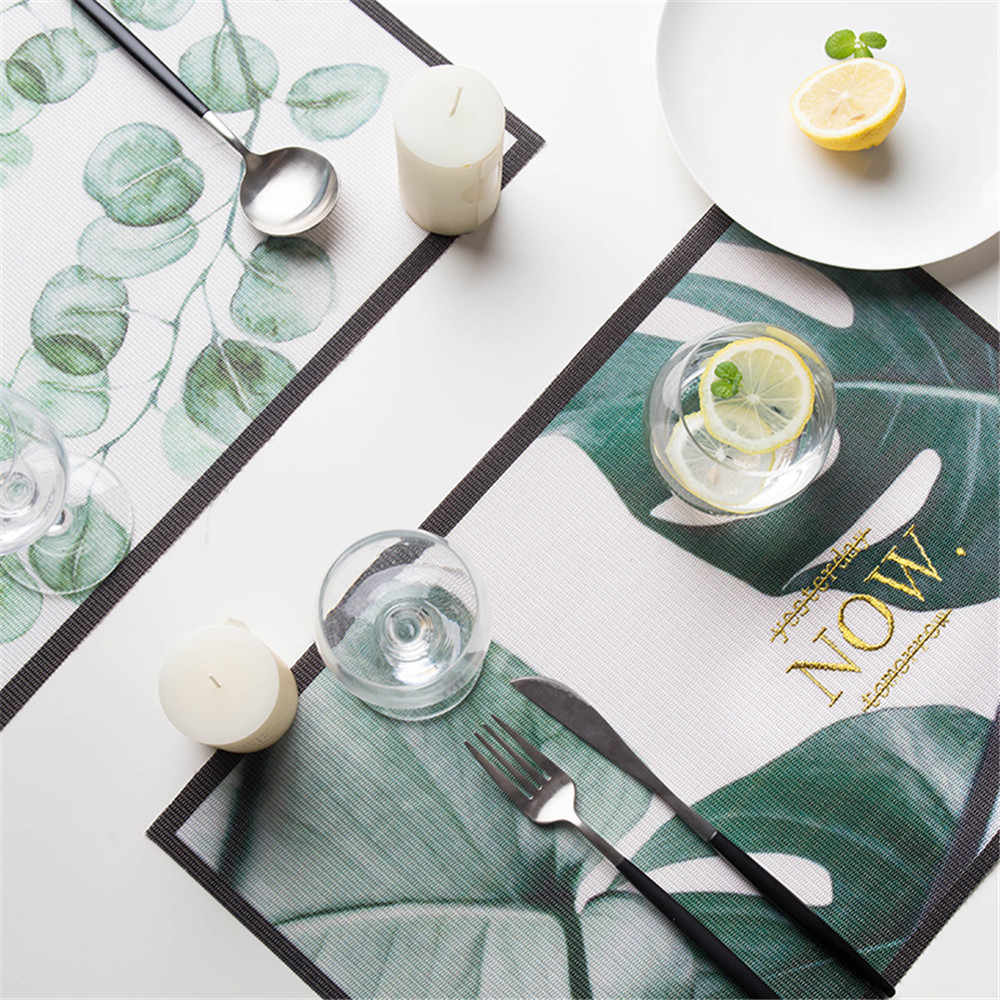 Heat Insulation Placemats Green plants Tableware Cup Pad Dining Table Mat BL3