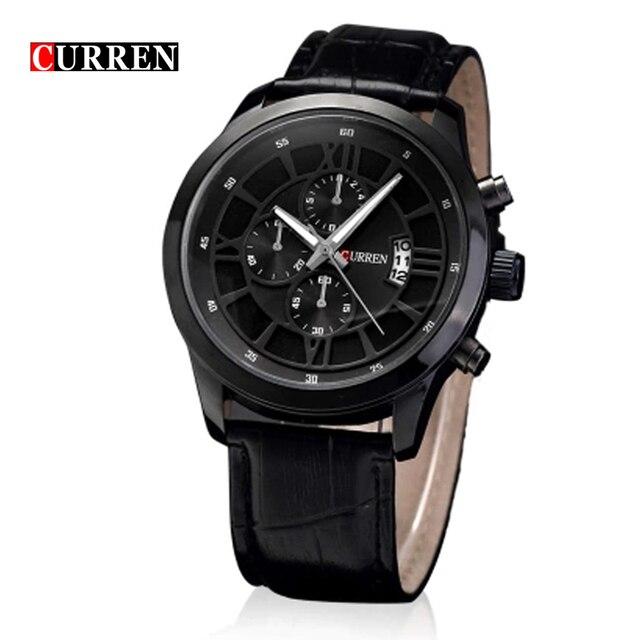 29c18f9a8577 Fashion Curren 8137 Brand Business Black Man Wrist watch Date Genuine  Leather waterproof Casual wristwatch Male Relojes hombre