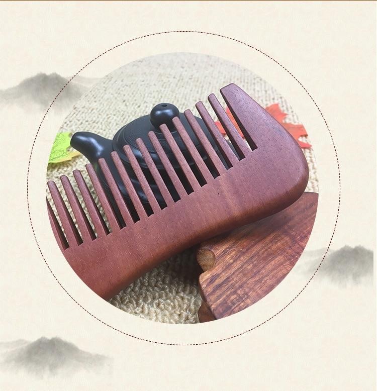 2pcs Fine red sandalwood comb red sandalwood comb 2017 new wooden comb green sandalwood combed wooden head neck mammary gland meridian lymphatic massage comb wide teeth comb