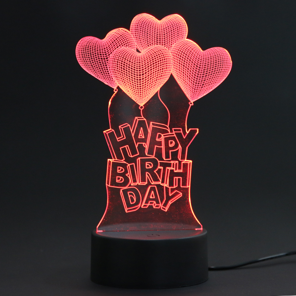 3D Visual Light Happy Birthday 3D Heart LED Night Light for Christmas USB Touch Table Lamp Bedroom Sleeping Light Bedroom Decor