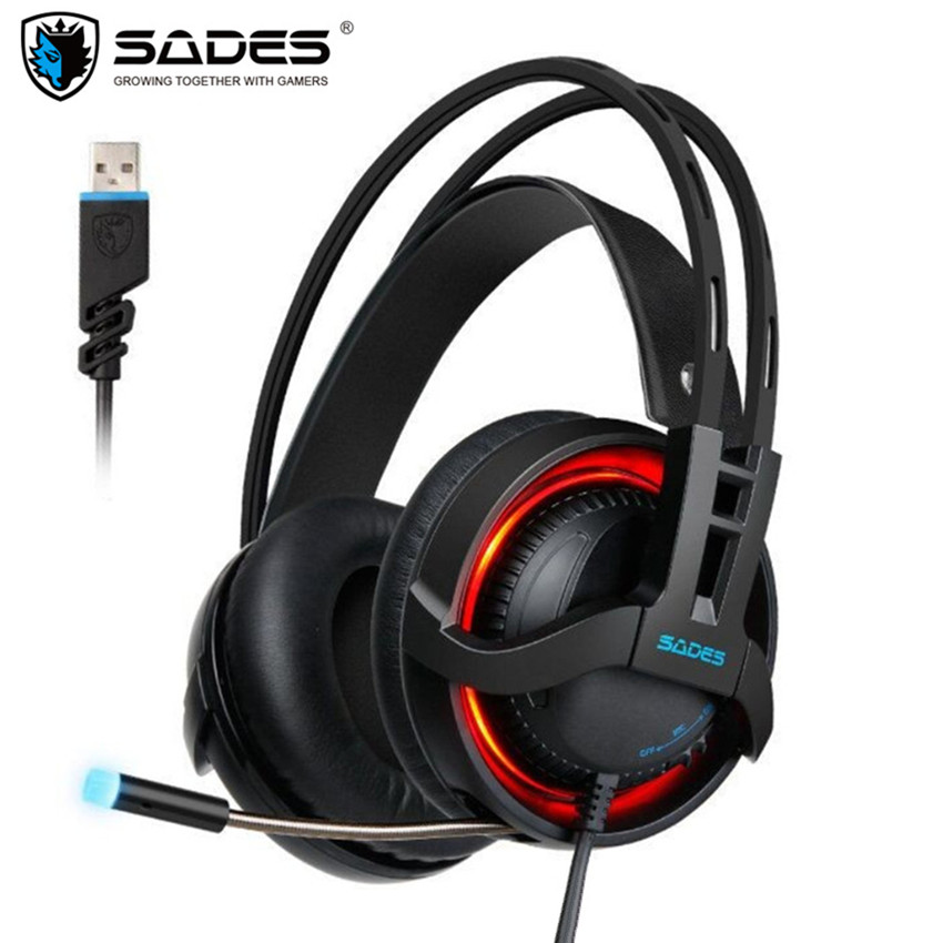 Sades R2 USB Computer Gaming Headphones Headset with Microphones Mic Breathing Led Virtual 7.1 Surround Stereo PC Gamer Headsets sades a6 usb 7 1 surround sound stereo gaming headset headband over ear headphone with mic volume control led light for pc gamer