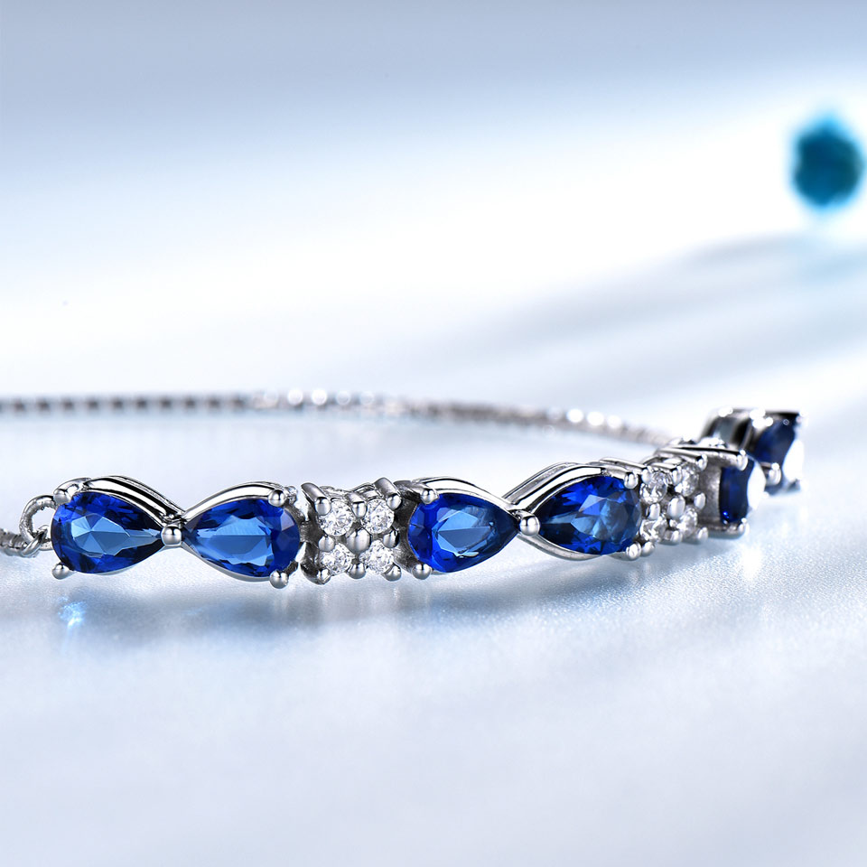 UMCHO Solid Real Sterling Silver 925 Bracelets Bangles Free expansion Triangle Created Blue Sapphire Bracelets For Women Gifts in Bracelets Bangles from Jewelry Accessories