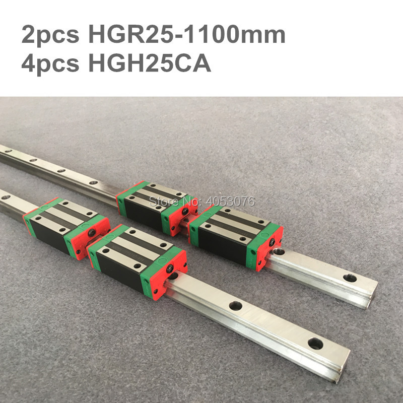 2 pcs linear guide HGR25 1100mm Linear rail and 4 pcs HGH25CA linear bearing blocks for CNC parts2 pcs linear guide HGR25 1100mm Linear rail and 4 pcs HGH25CA linear bearing blocks for CNC parts