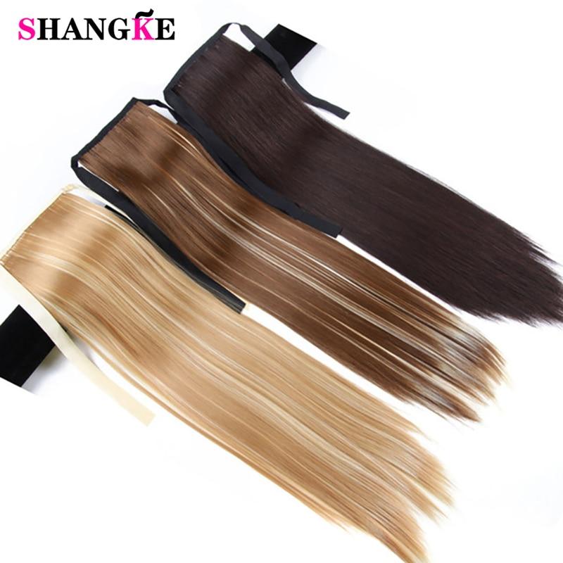 SHANGKE Haar 22 '' Lange Rechte Paardenstaarten Clip In Paardenstaart Trekkoord Synthetische Paardenstaart Hittebestendige Nep Haarverlenging
