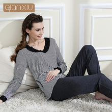 Qianxiu Brand Pajamas Classic Stripes Sleepwear Knitted V-neck Pajamas Set  Women Free Shipping