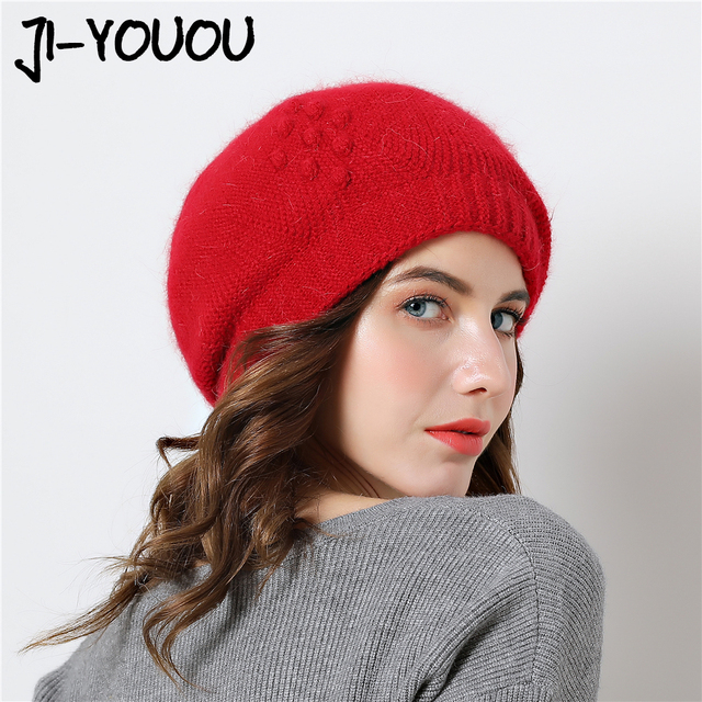 3a40a13f46e winter hats for women hat with rabbit fur for women s knitted hat Thicker  cap beanies 2018 Brand New Women s Caps hat brand