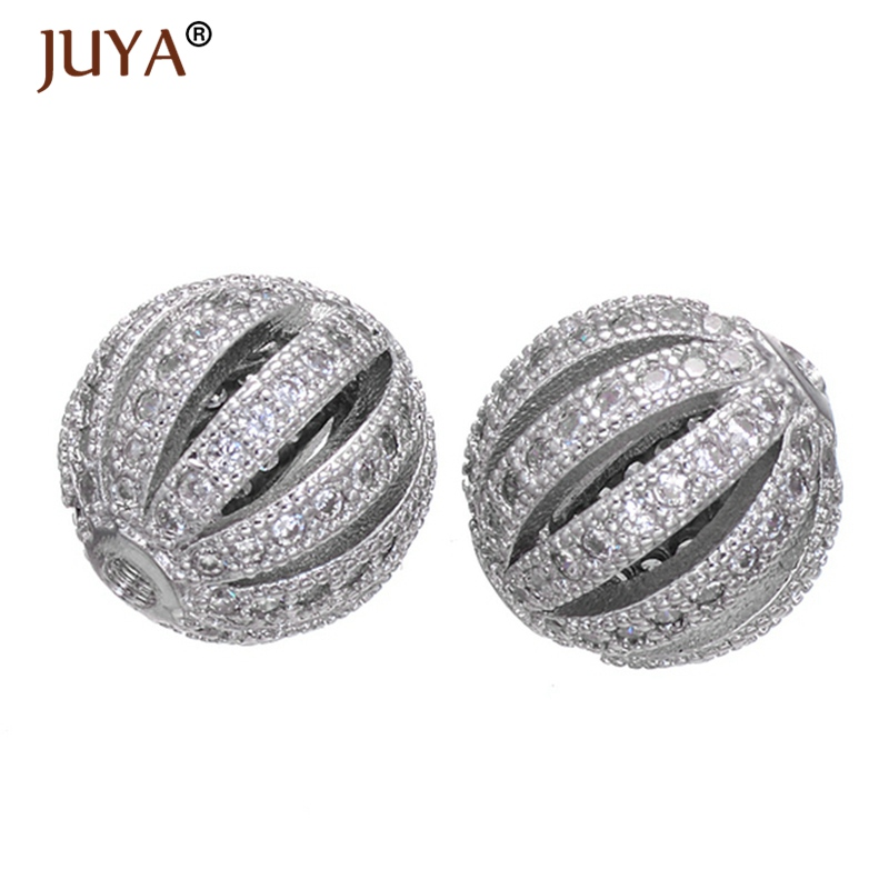 Copper Zircon Rhinestone Silver Beads Round DIY 10mm Czech European Ball Bead Charm Fit For Bracelets Necklaces Jewelry Making