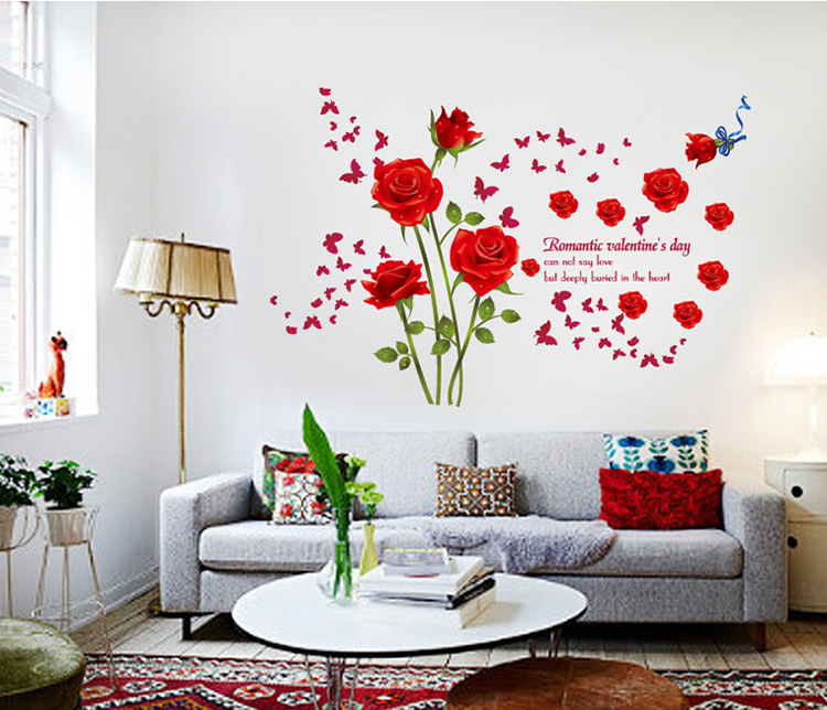 Red Blue Romantic Roses Large Wall Stickers Flowers Decals Home Decor Living  Room Bedroom Diy Mural Wallpaper Removable In Wall Stickers From Home U0026  Garden ... Part 61