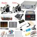 EUA armazém Completa Tattoo Starter Kit 2 Metralhadoras 28 cores de tintas 50 Agulhas Dicas De Alimentação LCD Equipamentos Apertos Conjunto fornecer