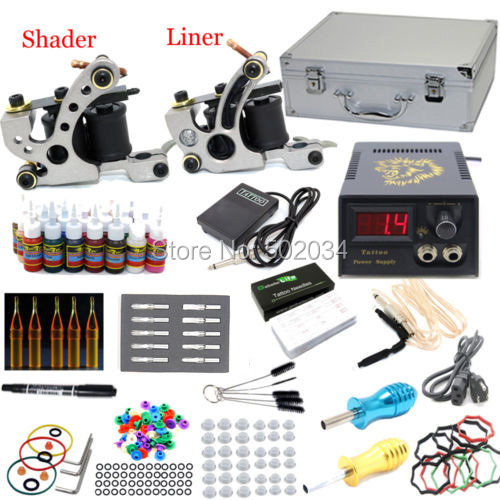 USA warehouse Complete Starter Tattoo Kit 2 Machine Guns 28 Inks colors 50 Needles LCD Power Tips Grips Equipment Set Supply starter tattoo kit 40 inks 2 machine guns grips needles tips power set equipment supplies for beginners usa warehouse k201i1