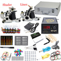 USA warehouse Complete Starter Tattoo Kit 2 Machine Guns 28 Inks colors 50 Needles LCD Power Tips Grips Equipment Set Supply