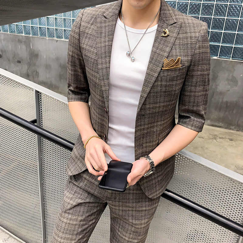 Hair stylist set men's summer plaid seven-point sleeve casual small suit Korean version of the tide Slim suit two-piece (top + p