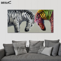 Happy Zebra 100% Handpainted Single Animal Oil Paintings Cartoon Picture Paint On Canvas Modern Wall Art Bedroom Home Decor