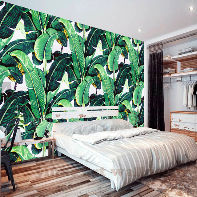 southeast asia style custom banana leaf 3d wallpaper bedroom