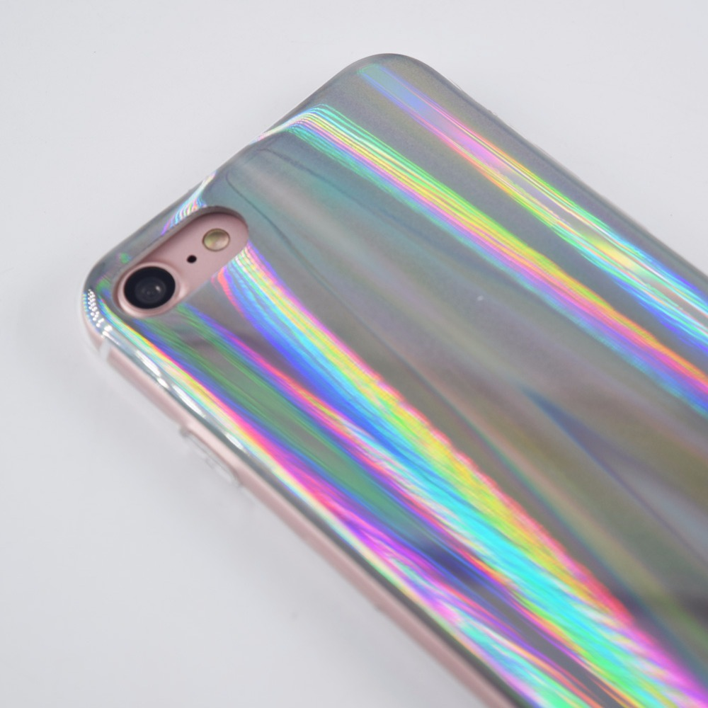 wholesale dealer 5c542 10ae5 US $4.65 15% OFF|Facever Psychedelic Holographic Rainbow Case For iPhone 7  Plus iPhone 8 Plus Sparkle Shiny Colorful Laser Soft Protective Cover-in ...