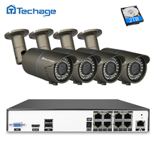 Techage H.265 8CH 48 V POE NVR Kit Sistema de CCTV 2.8-12mm Lente de distancia focal variable 4.0MP Cámara IP IR Al Aire Libre de Vigilancia de Seguridad de Vídeo conjunto