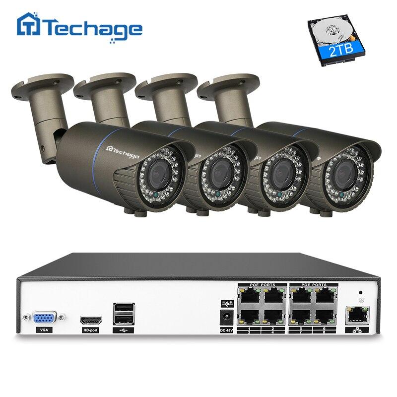 Techage H.265 8CH 4MP NVR POE CCTV Системы 2,8 мм-12 мм объектив с переменным фокусным расстоянием IP Камера охранных P2P видеонаблюдения Системы комплект