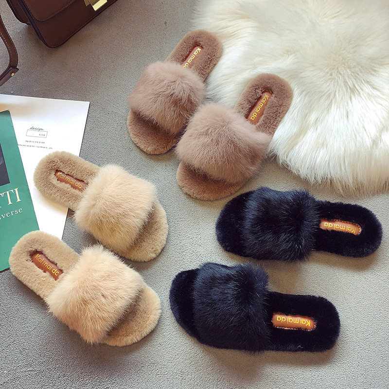 2019 spring and autumn new fashion fur slippers women wear a word slippers wild slippers in Slippers from Shoes