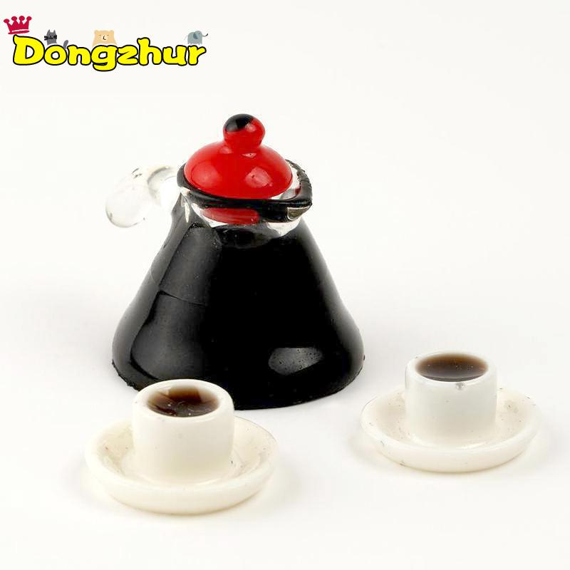 Miniature Simulation Food Mini 3 Pcs Set Coffee Pot Cup for Children Kids Birthday Gift Model DIY Craft For 1:12 DIY Dollhouse