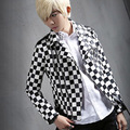 Black white plaid men's leather jacket slim fit coat mens fashion motorcycle jacket men punk rock outwear stage clothing A427