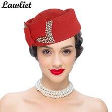 Las señoras sombrero pastillero Teardrop arco Rhinestone Vintage Gatsby  estilo Fascinator sombreros de lana de invierno e34f06d542ed