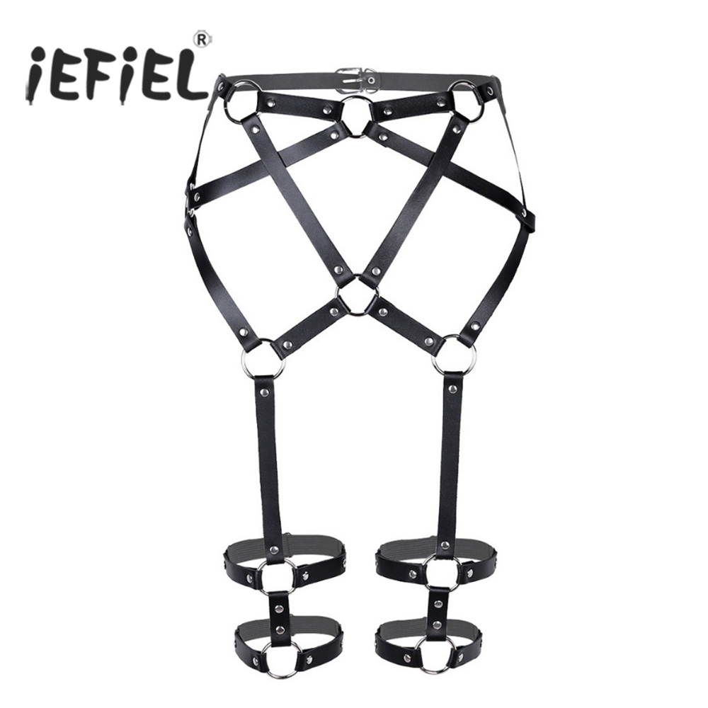 iEFiEL Womens Faux Leather Punk Adjustable Criss-Cross Waist Cincher Harness Belt Leg Garter Cage Belt Suspenders with Leg Rings