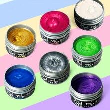 7 Colors Hair Dye Wax Pomade 100ml Hair Color Styling Cream Molding Paste Temporary Disposable Silver Ash Grandma Gray Hair Dye