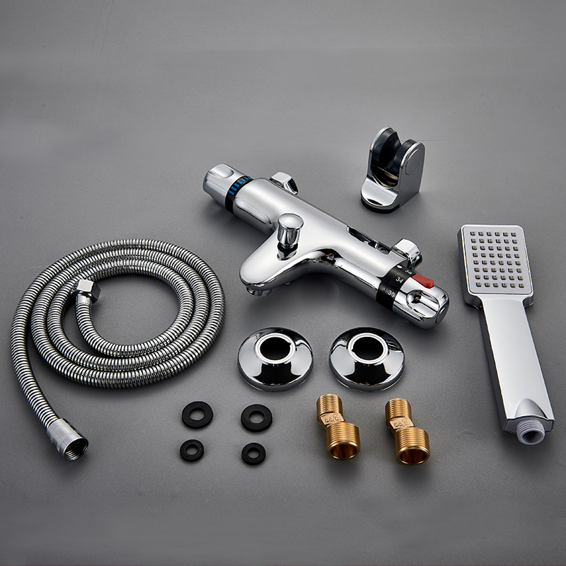 NEW-Shower-Faucet-Set-Bathroom-Thermostatic-Faucet-Chrome-Finish-Mixer-Tap-W-ABS-Handheld-Shower-Wall